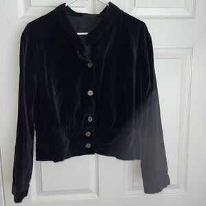CP SHADES velvet button down top jacket